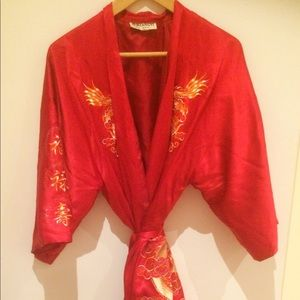 Jackets & Blazers - Embroidered Red Satin Robe